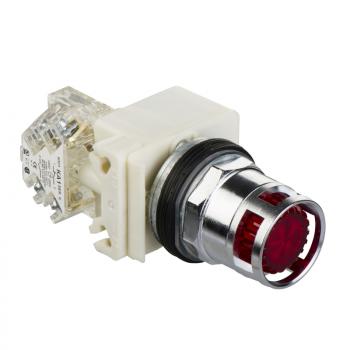 crveni svetleći taster Ø 30 - udubljeni sa povratkom - 230 V - 1OC