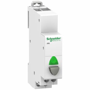 Acti9 iPB 1NO jednostruki taster sivi - indikatorska lampica zelena 12-48VAC/DC