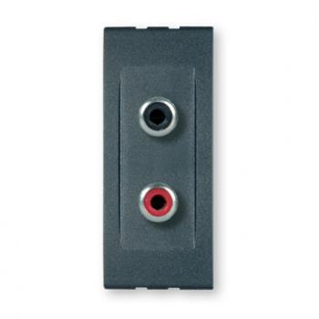 Priključnica audio RCA dvostruka Antracit