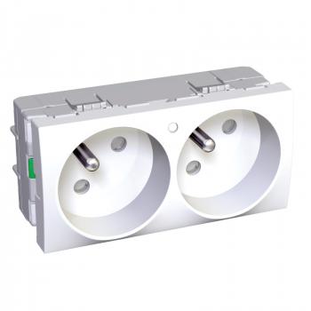 Altira - 2 utičnice - 2P+E sa zaštitom - francuski standard - lampica - bela