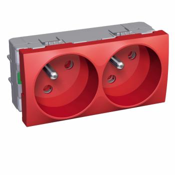 Altira - 2 utičnice - 2P+E sa zaštitom - francuski standard - crvena