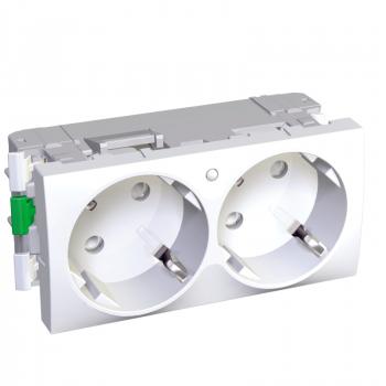 Altira - 2 utičnice - 2P+E sa zaštitom - uzemljenje sa strane - lampica - bela