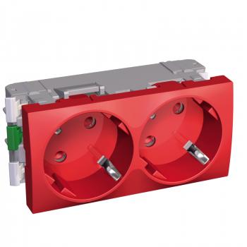 Altira - 2 utičnice - 2P+E sa zaštitom - uzemljenje sa strane - crvena