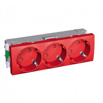 Altira - 3 utičnice - 2P+E zaštita - uzemljenje sa strane - crvena