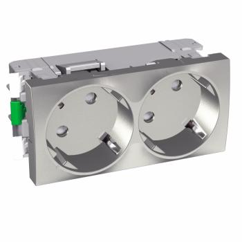 Altira - 2 utičnice - 2P+E sa zaštitom - uzemljenje sa strane - aluminijum