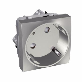 Altira - 1 utičnica - 2P+E sa zaštitom - uzemljenje sa strane - aluminijum