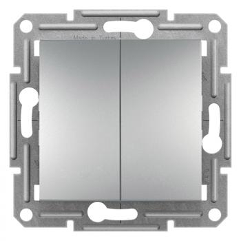 Asfora - dvostruki naizmenični prekidač, vijčani priključak, bez rama,aluminijum