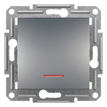 Asfora - 1P prekidač sa lokatorskom lampicom,vijčani priključak,bez rama,čelik