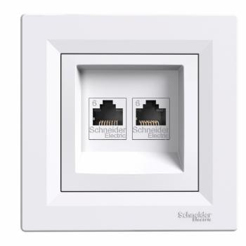 Asfora - dupla komunikaciona utičnica - RJ45 kat. 6 UTP beli
