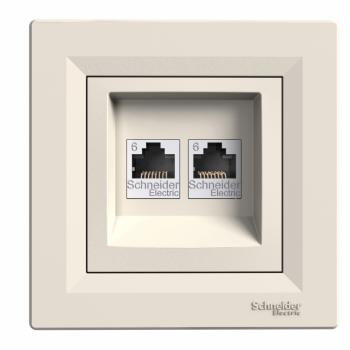 Asfora - dupla komunikaciona utičnica - RJ45 kat. 6 UTP krem