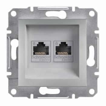 Asfora - dupla komunikaciona utičnica kat. 6 UTP, bez rama, aluminijum