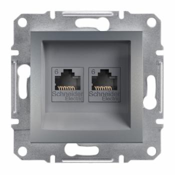 Asfora - dupla komunikaciona utičnica kat. 6 UTP, bez rama, čelik