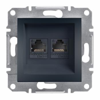 Asfora - dupla komunikaciona utičnica kat. 6 UTP, bez rama, antracit
