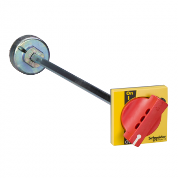extended rotary handle for front control, Compact INS/INV 250, IP40, IK07, red handle on yellow front