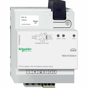 KNX izvor napajanja REG-K/320 mA sa ulazom za pomoćno napajanje, svetlosivi