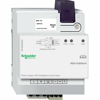 KNX izvor napajanja REG-K/640 mA sa ulazom za pomoćno napajanje, svetlosivi