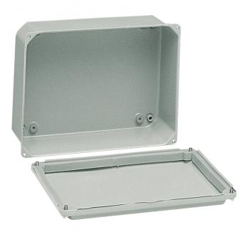 metalna industrijska kutija - niski poklopac - V105xŠ105xD49 - IP55 - siva