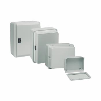 metalna industrijska kutija -niski poklopac-V155xŠ105xD49 - IP55 - siva RAL 7035