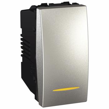 Prekidač jednopolni 1M 16A  sa signalnom lampicom Aluminijum