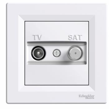 Priključnica TV/SAT završna Bela