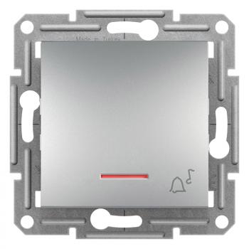 Taster sa simbolom zvona i lampicom 10A Aluminijum