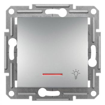Taster sa simbolom svetla i lampicom 10A Aluminijum