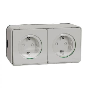Mureva Styl Priključnica dvostruka sa zaštitom n/z  IP55 bela