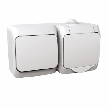 Cedar Plus - jednostruka utičnica sa uzemlj.+naizmenični prekidač - 16A(X), bela