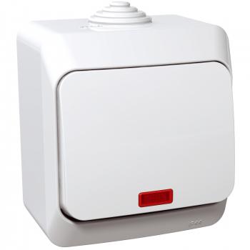 Cedar Plus - jednopolni prekidač - 16AX, lokatorska lampica, beli