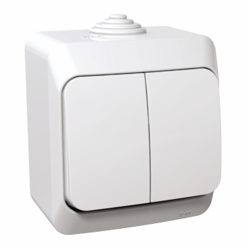 Cedar Plus - dupli jednopolni prekidač - 16AX, lokatorska lampica, beli