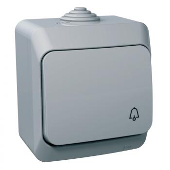 Cedar Plus - jednopolni taster sa simbolom zvona - 16A, sivi