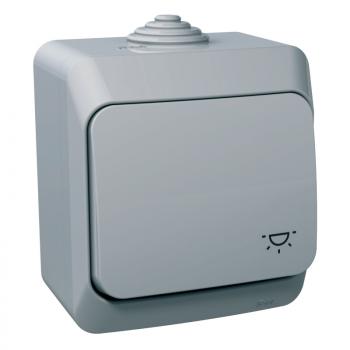 Cedar Plus - jednopolni taster - 16A, simbol svetla, sivi