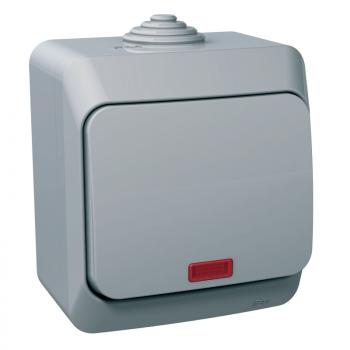 Cedar Plus - jednopolni prekidač - 16AX, lokatorska lampica, sivi