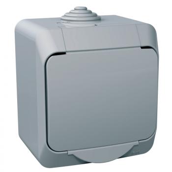 Cedar Plus - jednostruka utičnica sa uzemljenjem - 16A, zaštita, siva