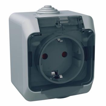 Cedar Plus - jednostruka utičnica sa uzemlj.- 16A,zaštita,providni poklopac,siva