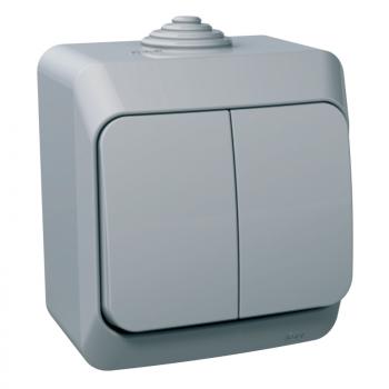 Cedar Plus - dupli jednopolni prekidač - 16AX, indikatorska lampica sivi