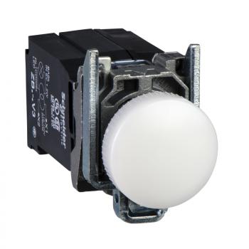 bela kompletna lampica Ø22 glatka sočiva integrisani LED 400V