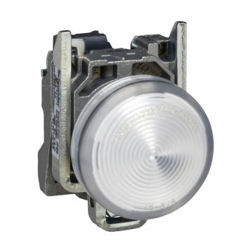 bela kompletna signalna lampica Ø22 ravna sočiva sa BA9s sijalicom 250V