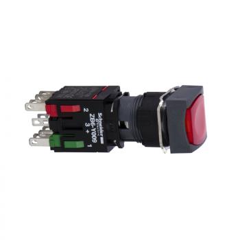 crveni kvadratni udubljeni kompl. svetleći taster Ø16 zadrška 1NO+1NC 12...24V
