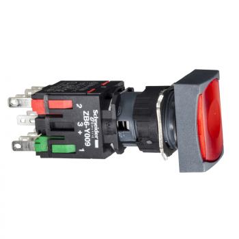 crveni pravougaoni udubljeni komp.svetleći taster Ø16 zadrška 1NO+1NC 12...24V