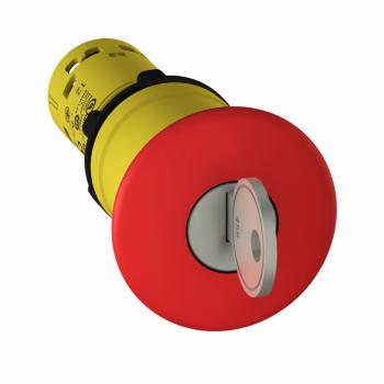 nužno isključenje Ø 22 crvena pečurka Ø 40mm- zadrška, otpuštanje ključem- 2 NC