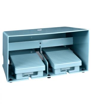 dvostruki nožni prekidač - IP66 - sa poklopcem - metalni - plavi - 4 NC + 4 NO
