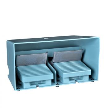 dvostruki nožni prekidač - IP66 - sa poklopcem - metalni - plavi - 2 NC + 2 NO