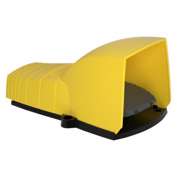jednostruki nožni prekidač - IP55 - sa poklopcem - plastični - žuti- 1 NC + 1 NO