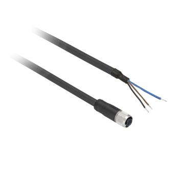 ožičen konektor XZ - ravni ženski - M8 - 3-pinski - kabl PUR 5m