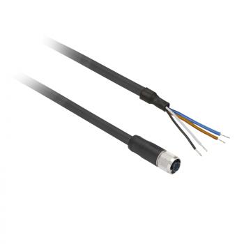 ožičen konektor XZ - ravni ženski - M12 - 4-pinski - kabl PUR 10m