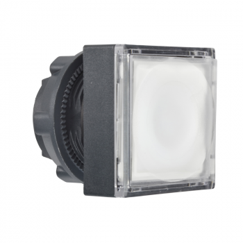 bela kvadratna udubljena glava svetl. tastera Ø22 sa povratkom za integrisan LED