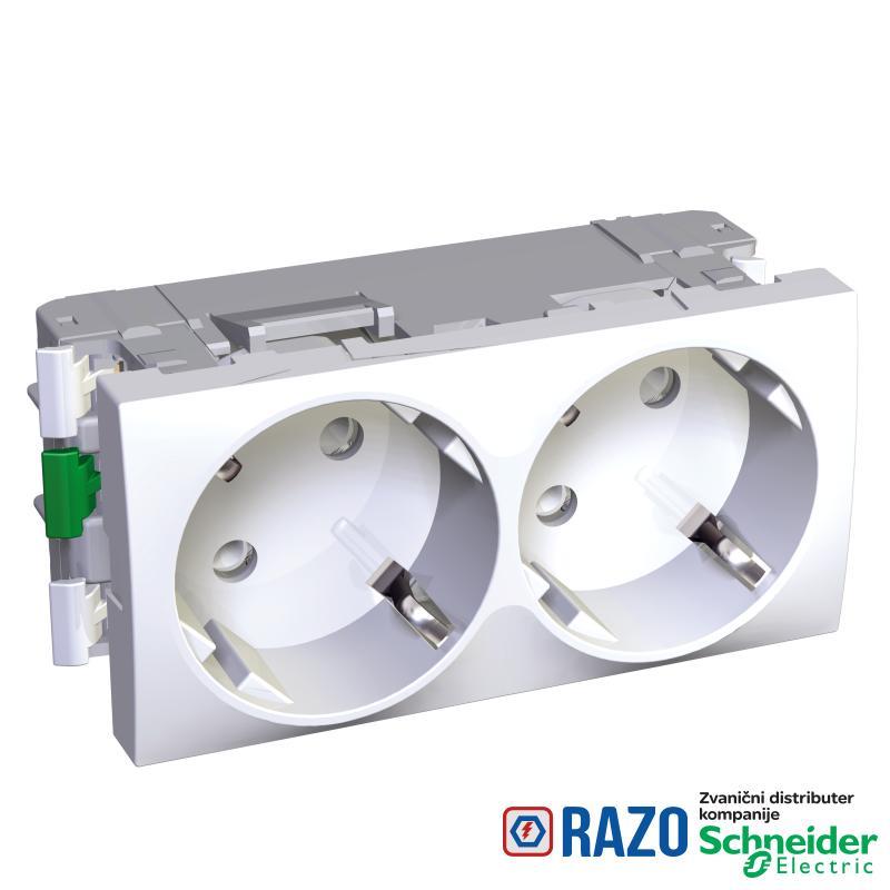 Altira - 2 utičnice - 2P+E sa zaštitom - uzemljenje sa strane - beli