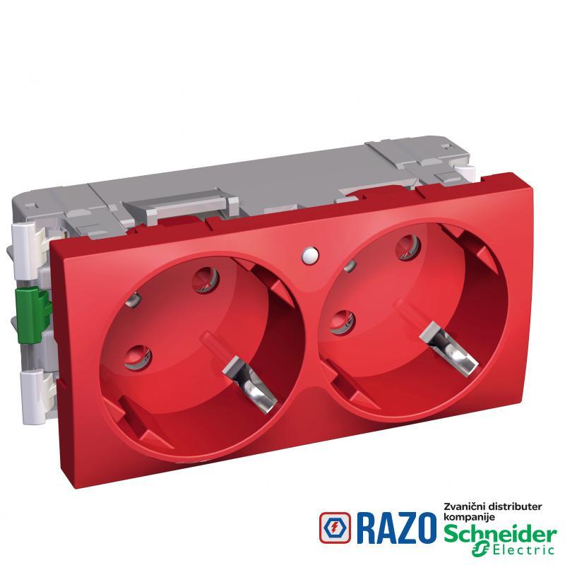 Altira - 2 utičnice - 2P+E sa zaštitom - uzemljenje sa strane - lampica - crvena