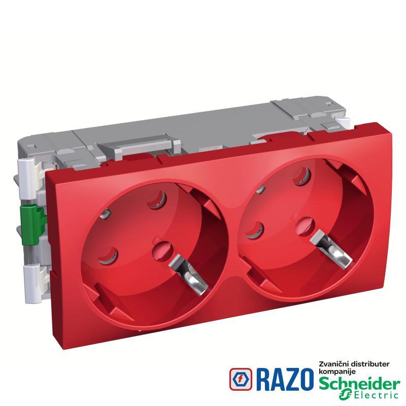 Altira - 2 utičnice - 2P+E - zaštita- uzemljenje sa strane - crvena